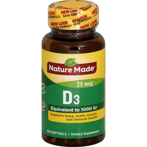 Nature Made Vitamin D3 1000 Iu Softgels 100 Ct Walmart Com Walmart Com