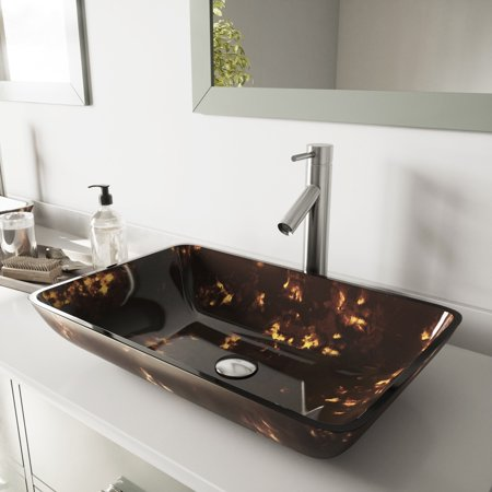 VIGO Brown and Gold Glass Vessel Bathroom Sink and Dior Faucet Set