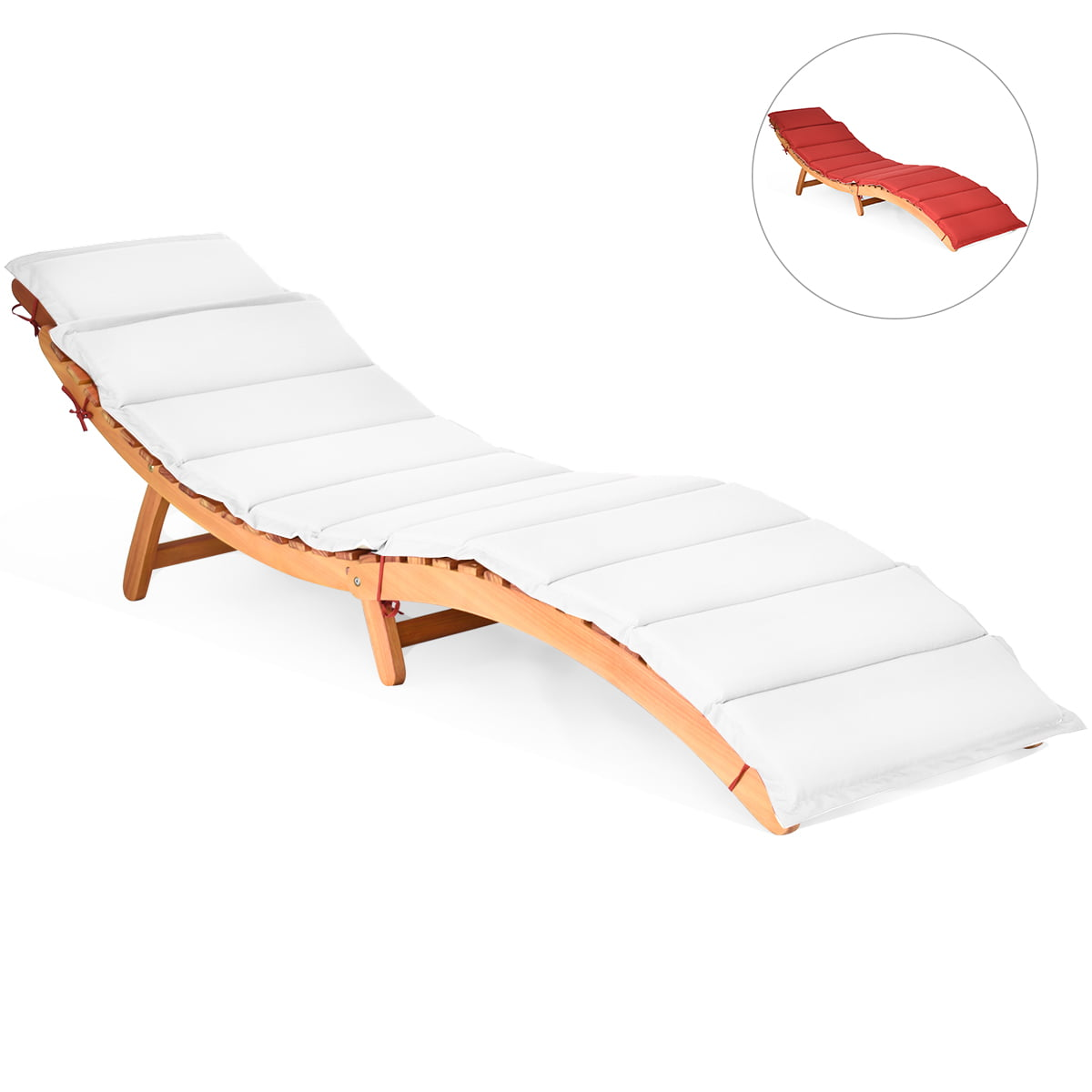 Wooden Outdoor Lounge Chair Chaise Red, White Outdoor Lounge Chair Cushions