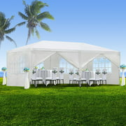 Zeny 10'x20' Outdoor Canopy Party Wedding Tent White Gazebo Pavilion w/6 Side Walls