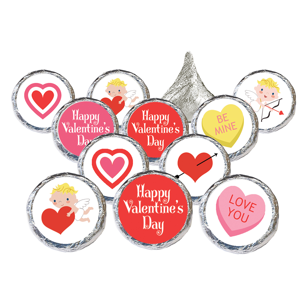 Valentine's Day Candy Stickers, 324 count - Valentines Day Candy Favors for Kids Valentines Party Supplies Candy Decorations - 324 Count Stickers