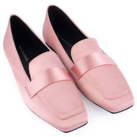 Mio Marino Loafers For Women - Womens Dress Shoes - Square Toe Satin Flats For Women - In Gift Box - Mauve - Size 10.5 B(M) US