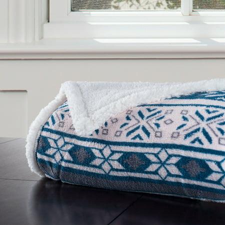 Snowflake Blanket (Somerset Home Fleece Sherpa Blanket Throw,)