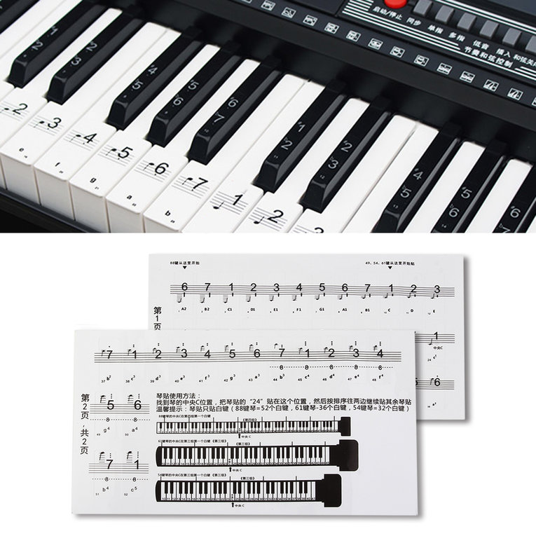 88 Key Piano Numbered Musical Notation Transparent Piano Keyboard Sticker white and black by OUTAD