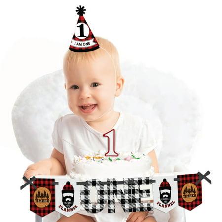 Lumberjack - Channel The Flannel 1st Birthday - First Birthday Boy Smash Cake Decorating Kit - High Chair - First Birthday Boy Decorations