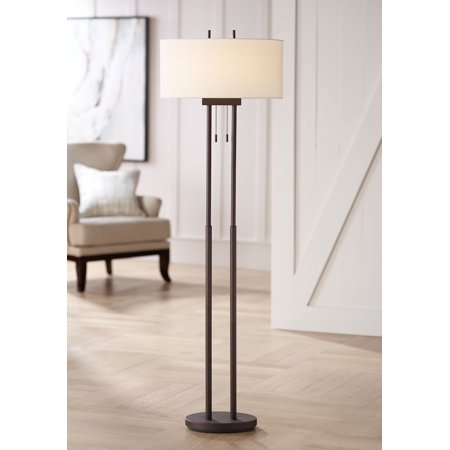 360 Lighting Modern Floor Lamp Twin Pole Oil Rubbed Bronze White Drum Shade for Living Room Reading Bedroom - Modern Double Light