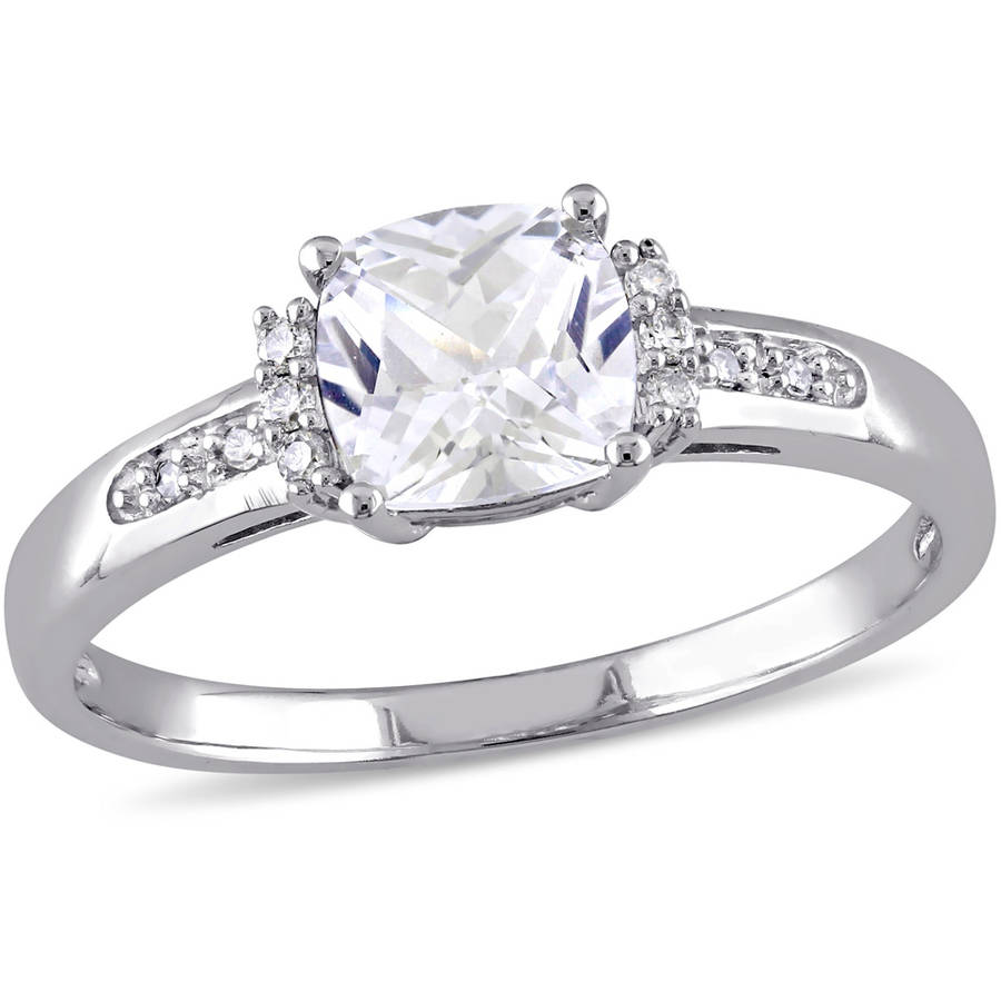 Miabella 1-1 4 Carat T.G.W. Created White Sapphire and Diamond-Accent 10kt White Gold Engagement Ring by Miabella