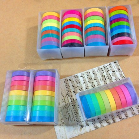 Washi Tape Set 10 x Decorative Washi Rainbow Sticky Paper Masking Adhesive Tape Scrapbooking DIY - Fall Washi Tape