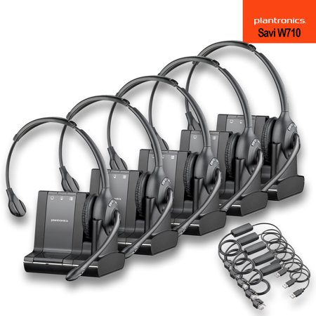 Plantronics Savi W710 Multi Device Wireless Headset System + APU-72 Hook Switch Cable For Cisco Phones - 5 Pack