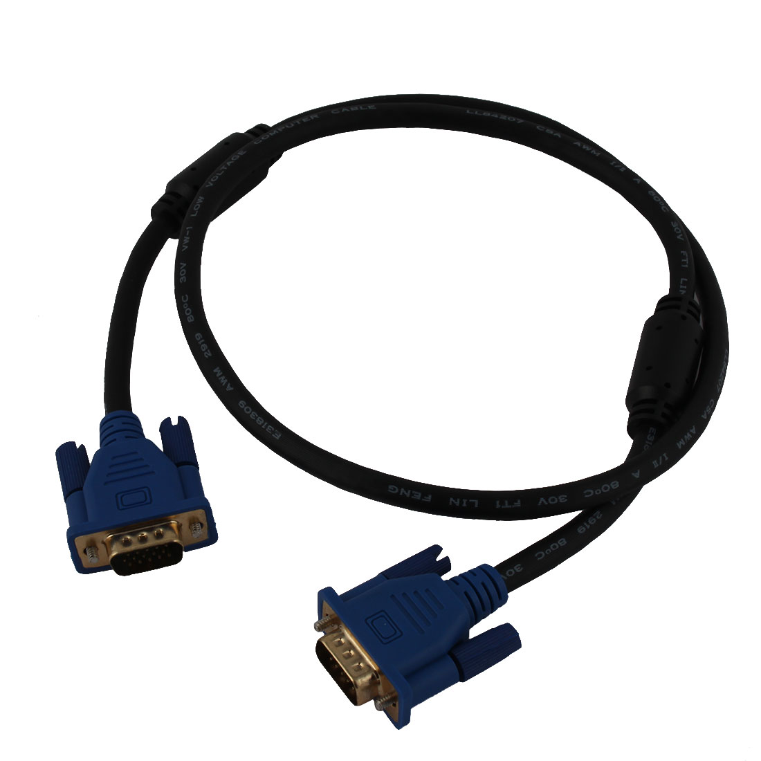 LCD Computer Monitor VGA Male to Male 15 Pin Cable Cord Blue Black 90cm Length