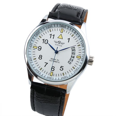 White Dial Automatic Mechanical Watch Mens Silver Case Leather Strap Pin (Silver Case Leather Strap)