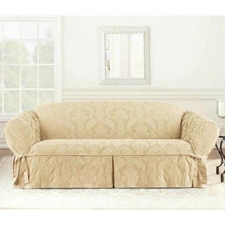 Sure Fit Matelasse Damask Sofa Slipcover, Tan