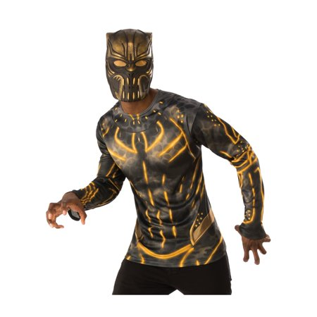 Marvel Black Panther Movie Erik Killmonger Adult Vinyl 3/4 Mask Halloween Costume - Movie Quality Halloween Masks For Sale