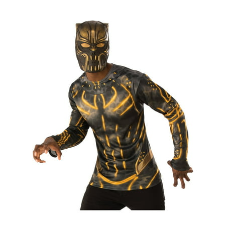 Marvel Black Panther Movie Erik Killmonger Adult Vinyl 3/4 Mask Halloween Costume - Movie Mask