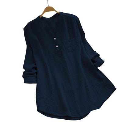 Women V Neck Baggy Loose Cotton Tops T Shirts Plus Size Long Sleeve Tunic Blouse (Plus Size Blouses And Tops)