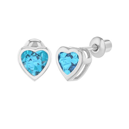 Rhodium Plated Crystal Heart Screw Back Earrings for Babies Kids Toddlers
