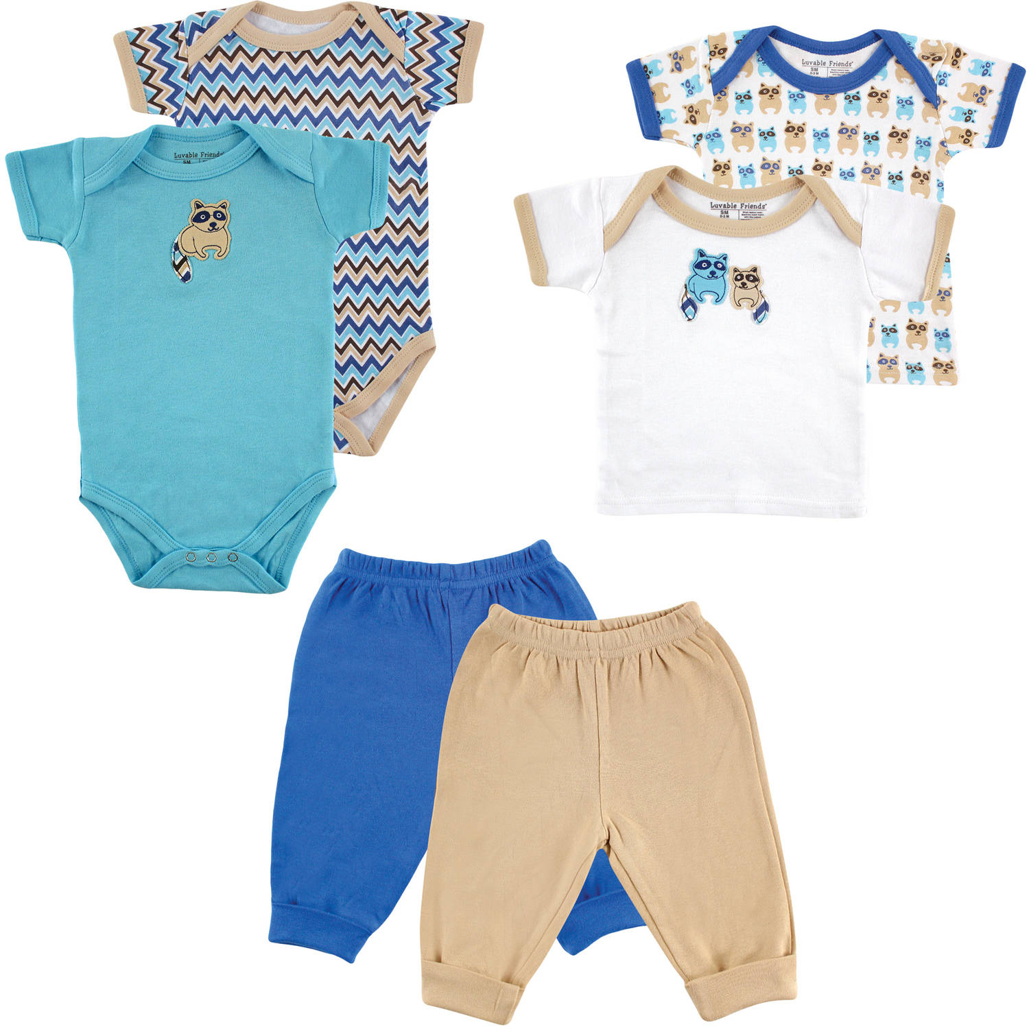 Luvable Friends Newborn Baby Boy Mix & Match Layette Box 6-Piece Set