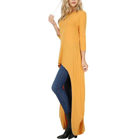 Made by Olivia Women's 3/4 Sleeve High Low Casual Long Maxi Tunic Tops Ash Mustard S (Mustard Womens Top)