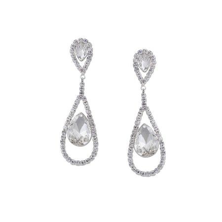 Wedding Earrings Silver Plated Crystal Rhinestone Women Stud Dangle Earrings (Crystal Wedding Earrings)