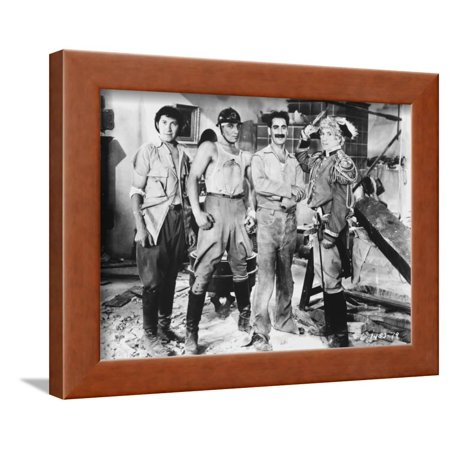 Marx Brothers standing with Construction Outfit with a Soldier- Photograph Print Framed Print Wall Art By Movie Star News
