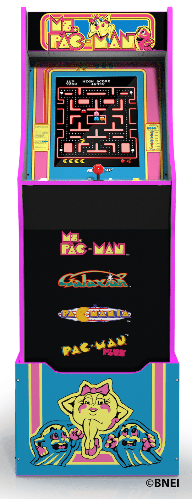 Pacman Graphic Sticker Decal Set Pac-Man Ms For Arcade 1 Up Machine Ms Arcade1up Cabinet Riser Graphics