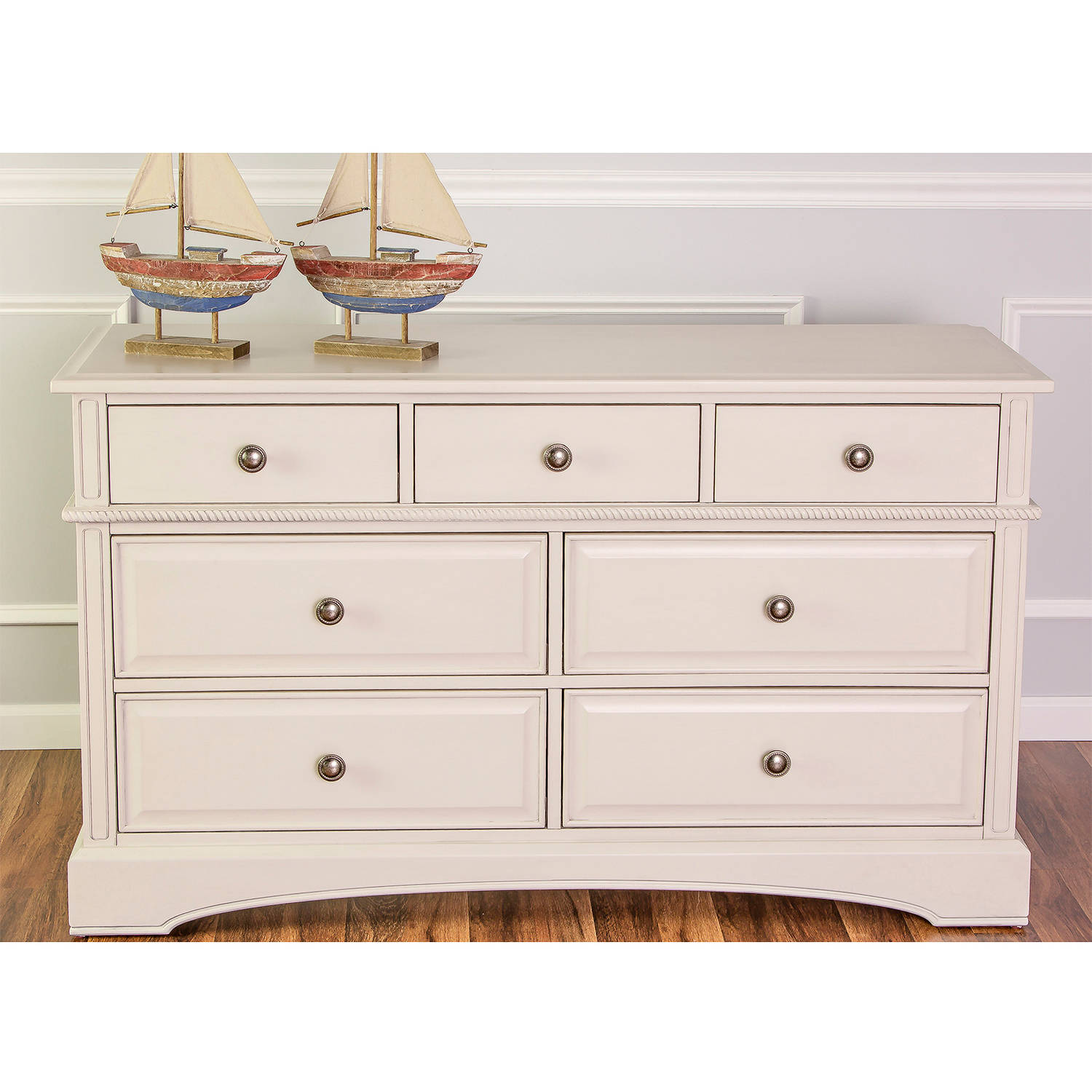 Mia Moda Double Drawers Dresser, Choose Your Finish