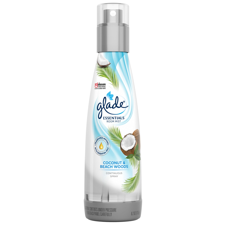 Glade Essentials Room Mist 1 CT, Coconut & Beach Woods, 6.2 OZ. Total, Air Freshener