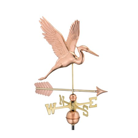 - Good Directions Graceful Blue Heron Weathervane with Arrow, Pure Copper - 26