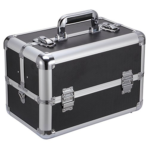 "Ollieroo Makeup Train Case Professional 14.4"" x 8.7"" x 9.8"" Large Make Up Artist Organizer Kit Shoulder Bag With Adjustable Dividers Key Lock Cosmetic Studio Box Designed To Fit All Cosmetics Black"
