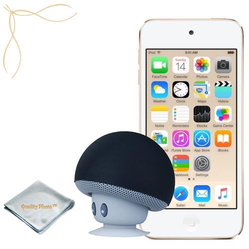 Apple iPod touch Gold 16GB (6th Generation) - Mushroom Bluetooth Wireless Speaker/Ipod Stand - Quality Photo cloth