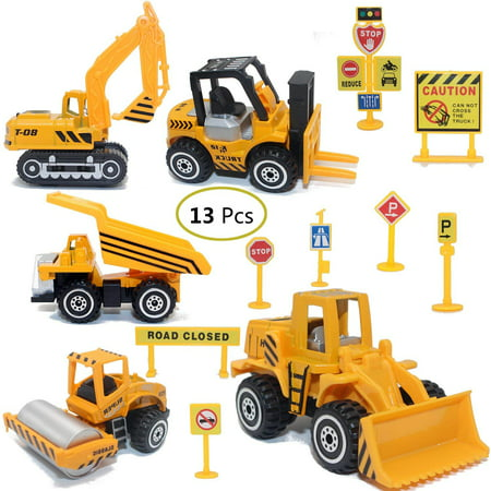 Construction Toys Sets, 5 Pieces Mini Vehicles, Including Truck Forklift Bulldozer Road Roller Excavator Dump Truck Tractor,Free-Wheeling Cars for Kids Children Holiday Gifts