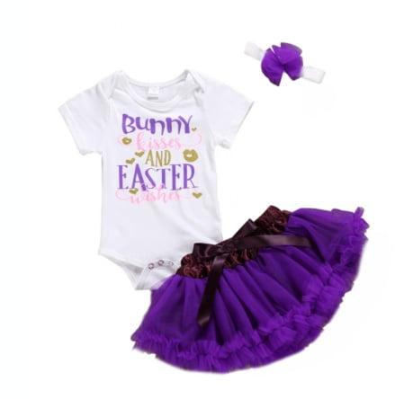 Baby Girls My 1st Easter Skirt Set Newborn Bunny Printed Ruffle Sleeve Romper+Tutu Skirt+Headband+Leg Warmers Outfits