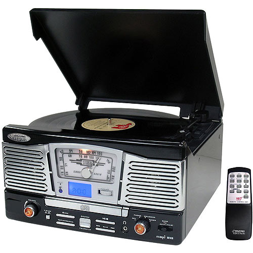 Pyle Retro Style Turntable with Radio, CD/USB/SD/MP3/WMA Playback and Vinyl-to-MP3 Encoding, Black