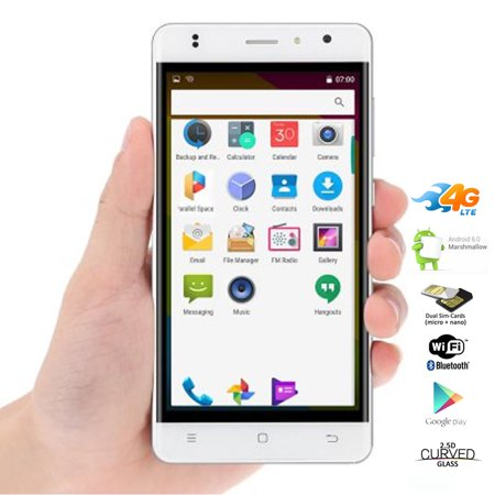Indigi® Stylish 4G LTE Unlocked Quad-Core 5in Smart Cell Phone Android 6.0 White