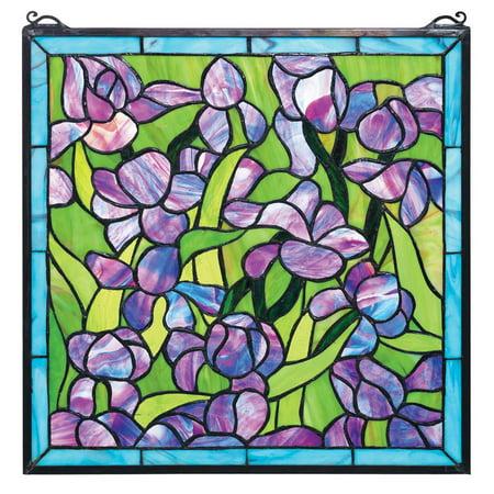 Design Toscano Saint-Remy Irises Stained Glass Window