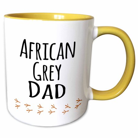 3dRose African Grey Parrot Dad - bird lover exotic pet owner - text with bird footprints - Two Tone Yellow Mug, 11-ounce ()