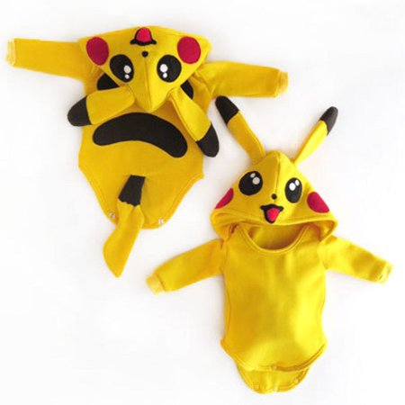Pokemon Go Toddler Infant Baby Boy Girl Pikachu Outfit Jumpsuit Rompers Cosplay Halloween Costume