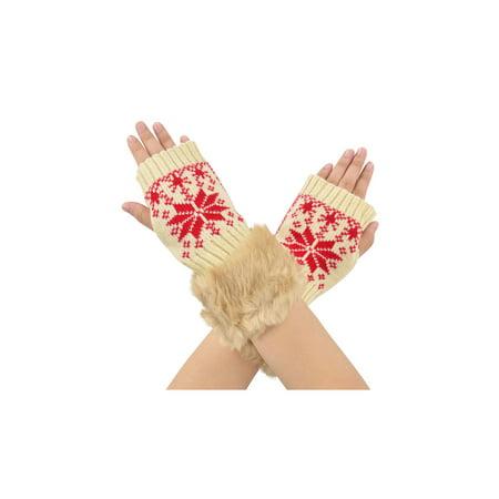 Snowflake Warmer Women Fingerless Faux Fur Trim Hand Mitten Gloves, (Fingerless Hand Warmers)