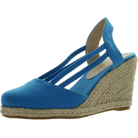 C LABEL ROLLIN-5 Womens Espadrille Elastic Sling Back Wedge Sandals, Blue, 8.5