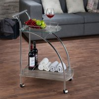 ACME Badin Serving Cart, Clear Glass & Chrome