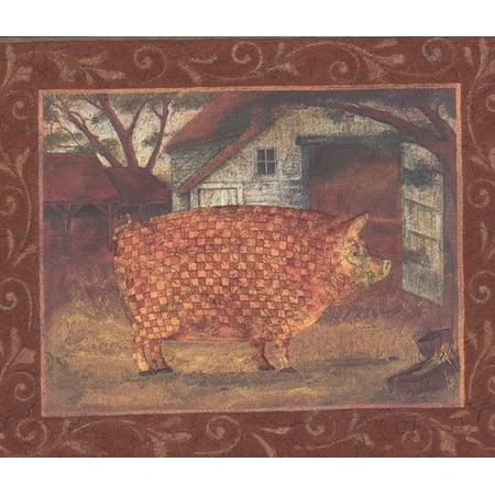 Slate Mosaic Border (Mosaic Farm Animals Pictures on Red Wall Farmhouse Wallpaper Border Retro Design, Roll 15' x 6.5'')