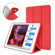 S-Tech iPad 9.7 Case 2018 iPad 6th Generation Case / 2017 iPad 5th Generation Case Soft Silicone Cover Tablet Tri Fold Stand with Magnetic Smart Sleep/Wake Feature for Apple iPad Model (Red)