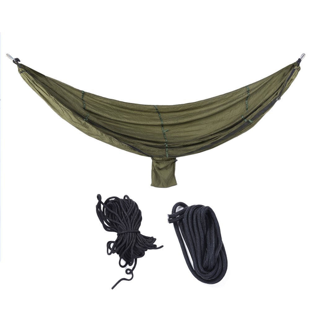Click here to buy Portable Double Person Hanging Hammock Bed With Anti Mosquito Net Metal Buckle Outdoor....