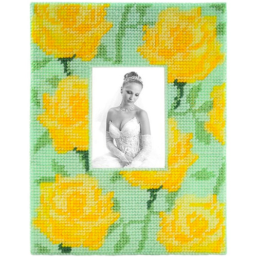 Framous Kits Yellow Rose Framous Plastic Canvas Kit, 8.5 by 6.5-Inch Multi-Colored