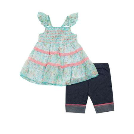 Little Lass Infant & Toddler Girls Aqua & Pink Chiffon Top Biker Shorts - Bikers Outfit