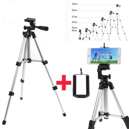 Professional Camera Tripod Stand Mount + Phone Holder for Cell Phone iPhone XS XR X 8 7 6 6S Plus, Samsung S9 S8 S7 S6 Edge(Plus) Note 9 S10/S10E, LG G7/G6/V40 (Professional Camcorder Tripod)