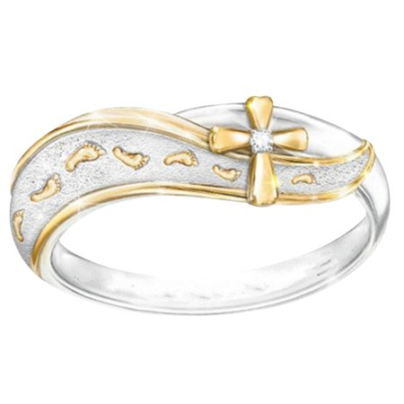 SHOPFIVE Exquisite Charm Simple Fashion Jewelry 925 Sterling Silver Footprints Cross Sign Ring Size 6-10