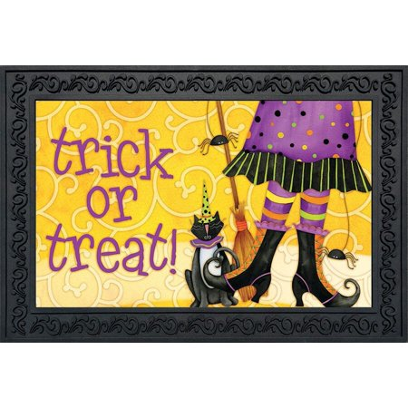 Trick or Treat Witch Halloween Doormat Black Cat Broom Indoor Outdoor 18