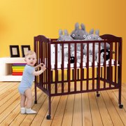 Tobbi Baby Side Crib Wooden Toddler Bed Day Bed Full Bed Convertible w/ Mattress Nursery Furniture Coffee
