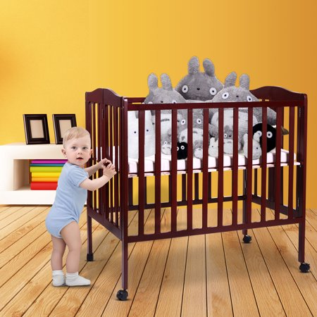 Baby Side Crib Wooden Toddler Bed Day Bed Full Bed Convertible w/ Mattress Nursery Furniture Coffee